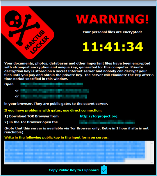 Maktub勒索軟體 Ransomware會在檔案加密完成之後顯示視窗