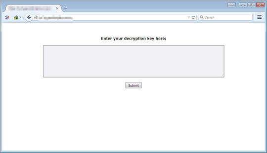 Maktub勒索軟體 Ransomware連上其網站,會看到要求輸入解密金鑰