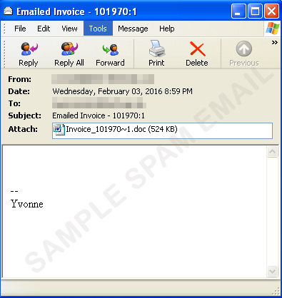 spammers send out another fake invoice with dridex