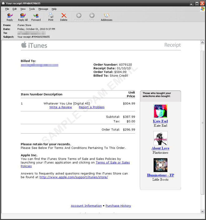 Spoofed iTunes Receipt Leads to Online Pharmacy - Threat