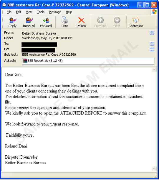Fake Better Business Bureau Complaint Email Comes With