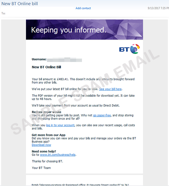 Fake British Telecommunications Bill Arrives with Banking