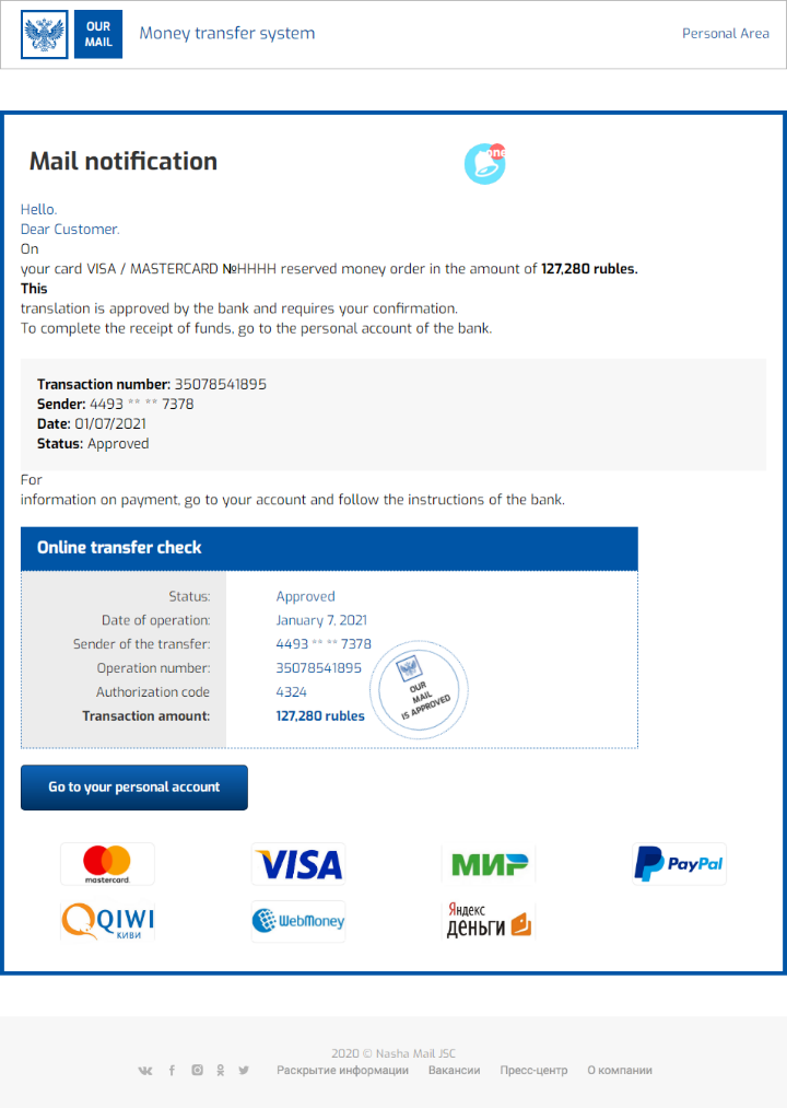 The phishing email used in this money transfer scheme