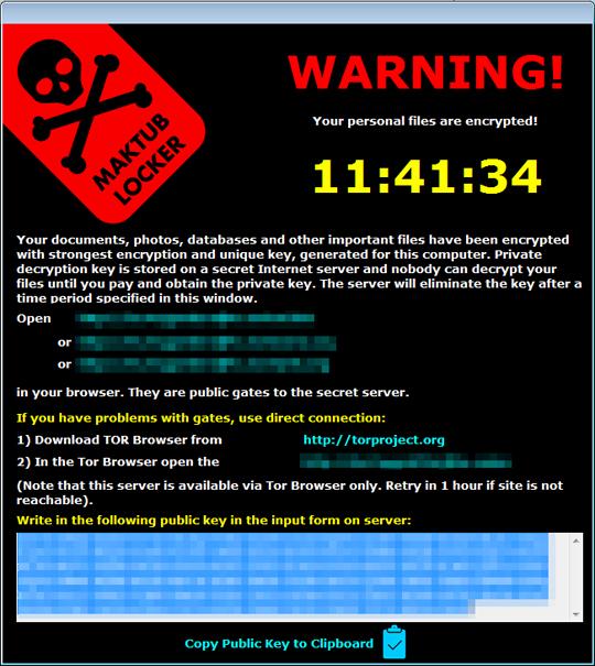 Maktub勒索病毒 Ransomware會在檔案加密完成之後顯示視窗