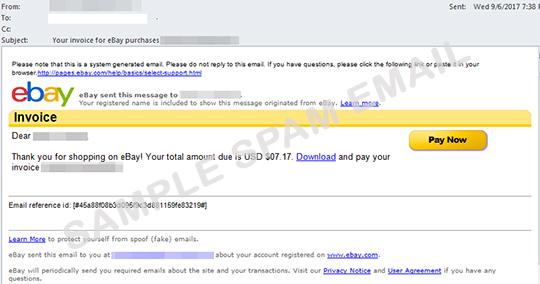 Ransomware Arrives Via Fake EBay Invoice Email Threat Encyclopedia - Ebay invoice payment