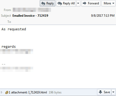 Fake Invoice Email With Html Attachment Spreads Locky Ransomware - Emailed invoice