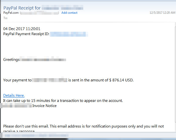 Fake Paypal email comes with phishing link