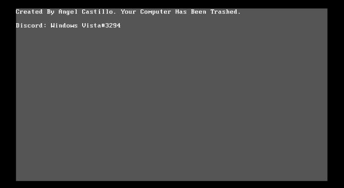 "手動重啟後會顯示灰色畫面顯示 : ""Created by Angel Castill. Your Computer Has Been Trashed(由Angel Castill建立,你的電腦已經損壞)"""
