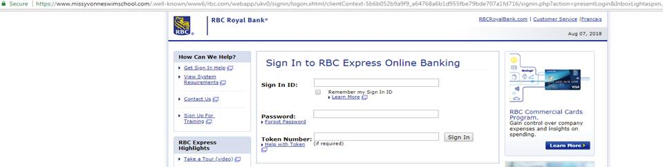 Royal Bank of Canada Phishing Campaign target