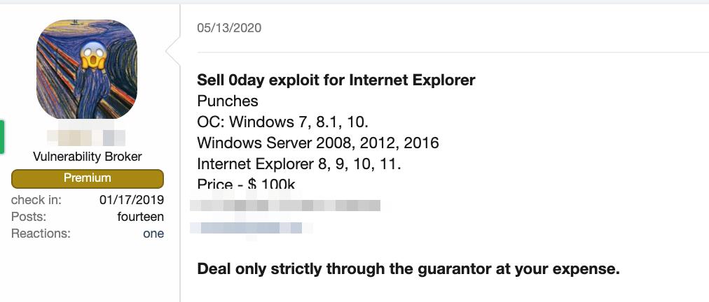 A forum post advertising an exploit for a zero-day Internet Explorer vulnerability