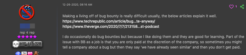 A forum post by a user promoting guides on how to submit exploits to bug bounty programs