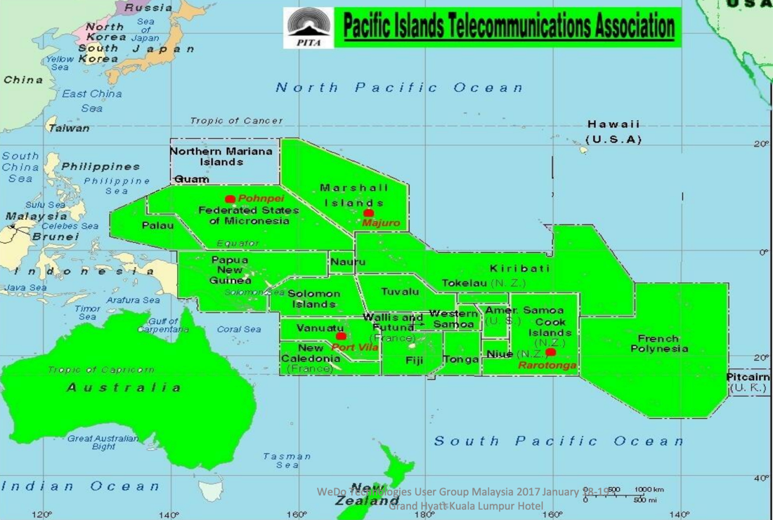 Coverage of the Pacific Islands Telecommunications Association (PITA) caught in a series of telecom frauds. Map courtesy of PITA
