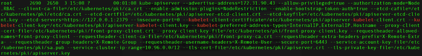 Command output of the ps -ef | grep kube-apiserver showing the kubelet security settings