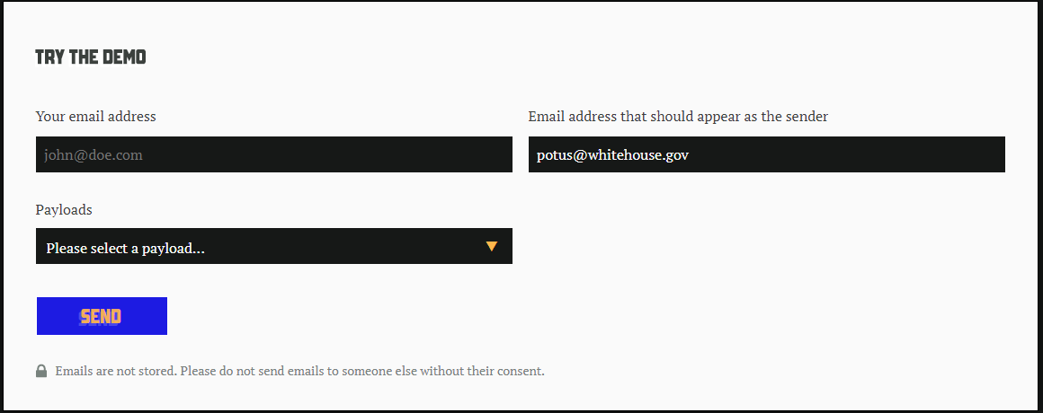 Figure 1. The Mailsploit site allows you to try sending a spoofed mail—you can craft any email address you want to appear as the sender