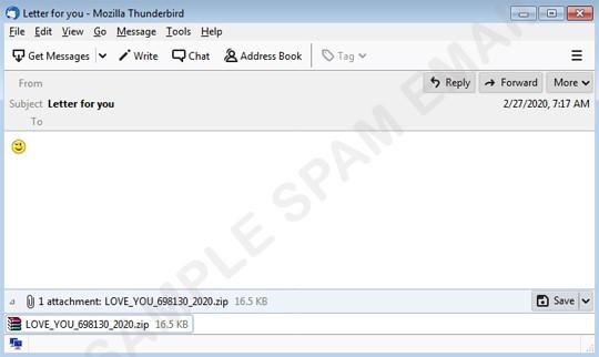 Nemty 勒索病毒 郵件本文只有一個眨眼表情符號