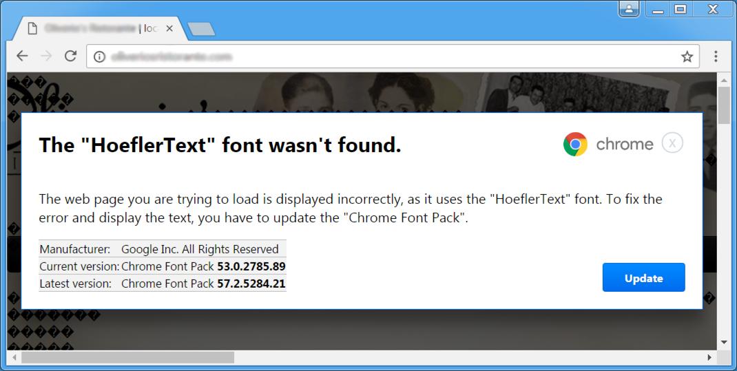 佯稱請使用者更新 Chrome 字型套件的彈出視窗。