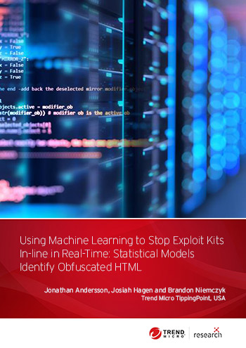 Exploit kits are used by malicious actors to exploit system vulnerabilities. For this research, we developed support for evaluating statistical models learned through machine learning techniques, starting with exploit kits that use obfuscated HTML. Our intrusion prevention system (IPS) can now evaluate and block exploit kits inline in real time.