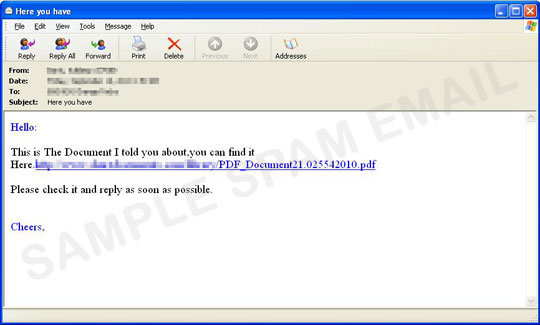 u0026quot here you have u0026quot  spam with a url that leads to malware