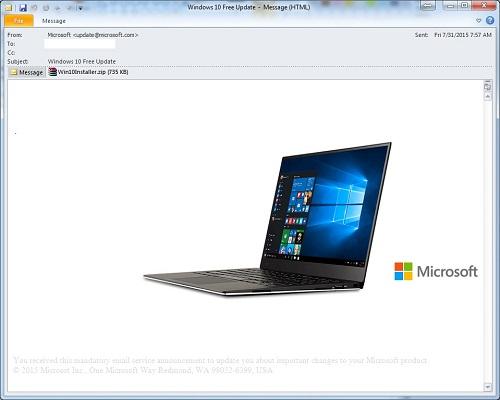 假冒免費 Windows 10 更新通知信件暗藏勒索軟體