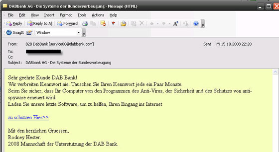 German phishing email