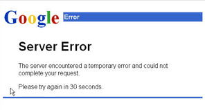 Gmail downtime message