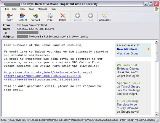 phishing mail sent via yahoo groups trendlabs security
