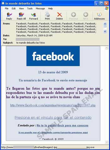 Facebook spam in Spanish containing malicious links
