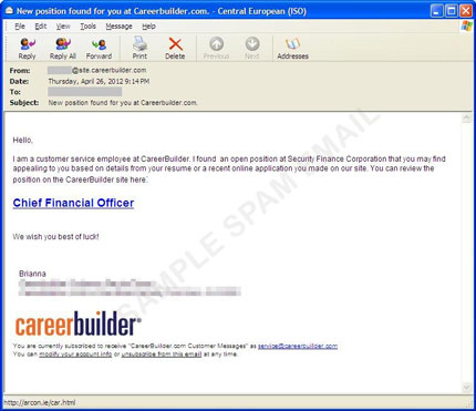 fake job employment website spam takes advantage of job hunters to