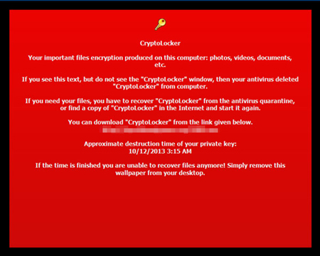 CryptoLocker message