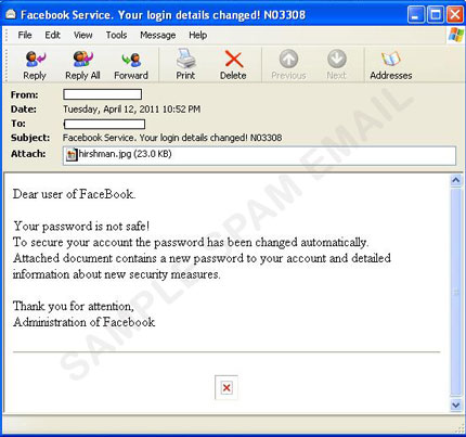 Fake Facebook Password Spam Arrives With Malicious Attachment