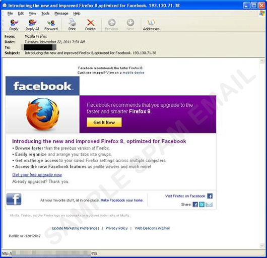 Fake Mozilla Firefox 8 Update Email Leads to Malware