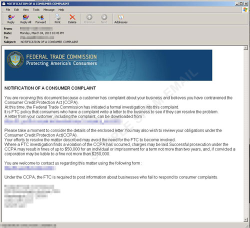 Ftc Customer Complaint Notification Spam  Threat Encyclopedia