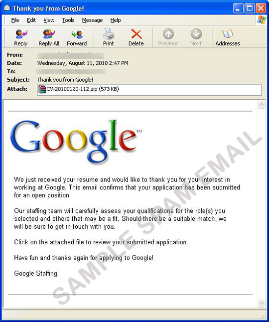 Fake Google Job Application Mail With Worm Attachment Threat