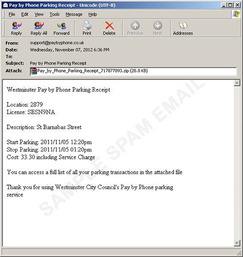 pay by phone parking service receipt arrives with malware 脅威