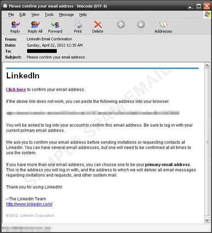 Spammed LinkedIn and MySpace Fake Confirmation Mails Direct