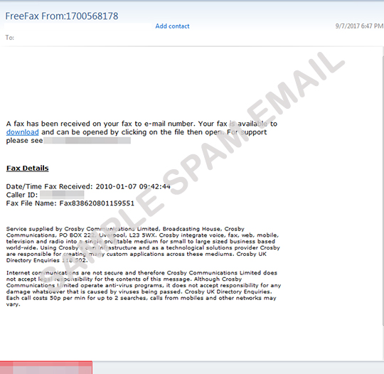 fake fax emails deliver ransomware 脅威データベース