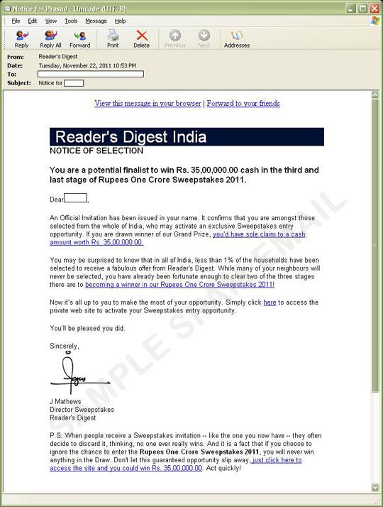 Readers digest india sweepstakes 2018 winners of 2018