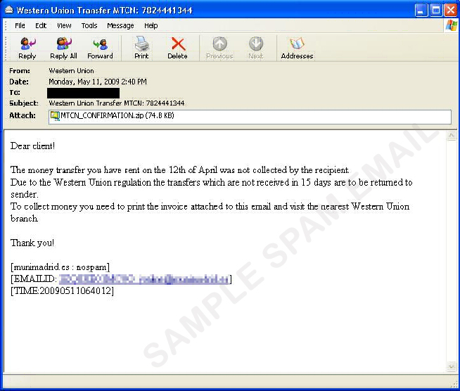 Spoofed Western Union Mail Carries Malware - Threat