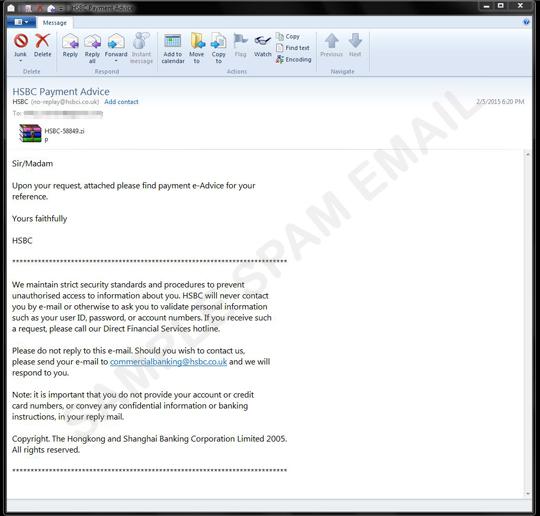 HSBC Customers Beware: Malware in Fake HSBC Payment Advisory