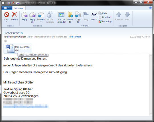 Fake German Delivery Note with DRIDEX Attachment - Threat ...