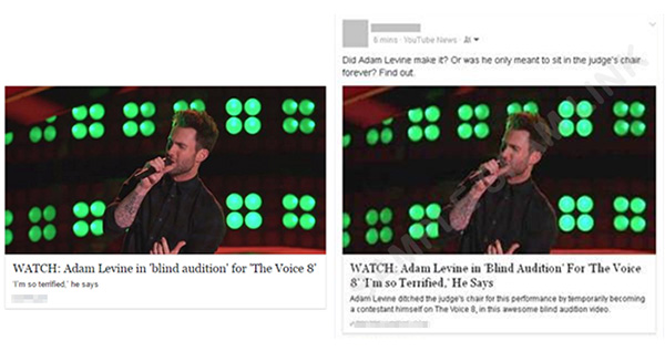 假冒的亞當‧李維 (Adam Levine) 「盲選」影片在 Facebook 上散播廣告程式