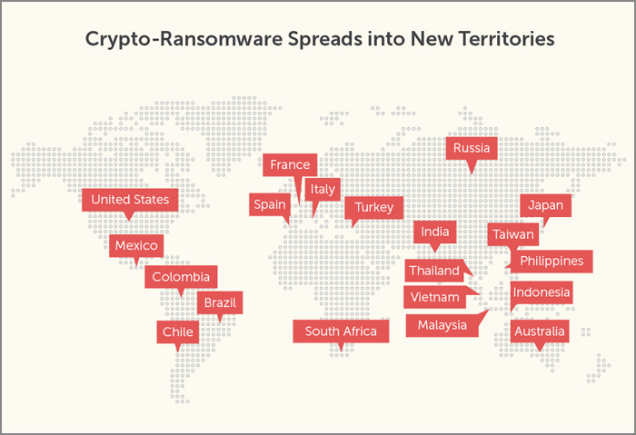 Crypto-Ransomware Spreads into New Territories